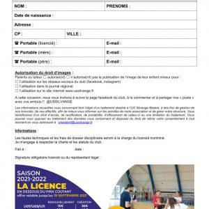 Fiche d'inscription licence 2021/2022