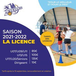 Tarifs Licences 2021/2022 après le 19 septembre